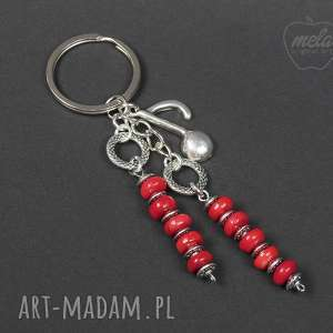 0120 brelok do kluczy torebki koral czerwony - brelok, do kluczy, kamień, koral, nuta