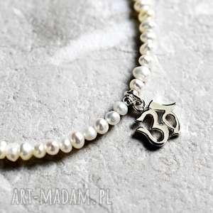 925 Słodkowodne perły - bransoletka OM , perły, perełki, słodkowodne, natura, om