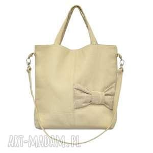 22-0007 Beżowa ekskluzywna torebka damska z kokardą JAY ONE, markowe-torebki