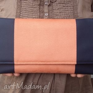 kopertówka - skóra granat i środek zamsz łosoś, elegancka, nowoczesna, wizytowa