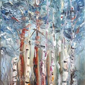 obraz olejny brzozy las natura abstrakcja 50x30 cm, olejny
