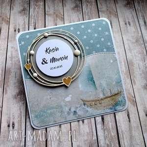 hand-made scrapbooking kartki ślubna morska bryza