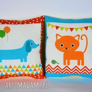 para poduszek - kotek i piesek - poduszka, dziecko, niemowlę, kotek, piesek, para
