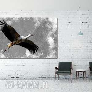 obraz xxl bocian 5 - 120x70cm na płótnie ptak, obraz, bocian, płótnie, bociany
