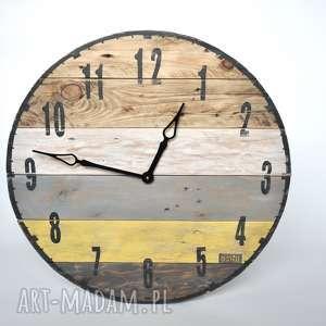 Zegar duży ze starych desek - średnica 57cm, stare, deski, loftowy, vintage
