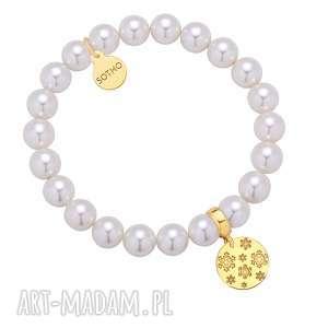 ręcznie robione pomysł na upominki święta biała bransoletka z pereł swarovski® crystal