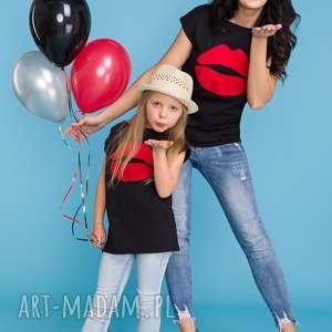 KOMPLET dla mamy i córki, bluzka z aplikacją, czarny, bluzka, komplet, mama, córka