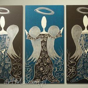 ANIOŁY SZCZĘŚCIA i DOBROBYTU - A9 90x60cm ręcznie malowane, obraz, anioły, anioł