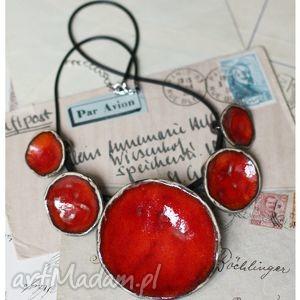 wisiorki etno czerwień, wisior, ceramika biżuteria