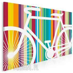 obraz na płótnie - rower paski 120x80 cm 12601, rower, pojazd, paski, kolory