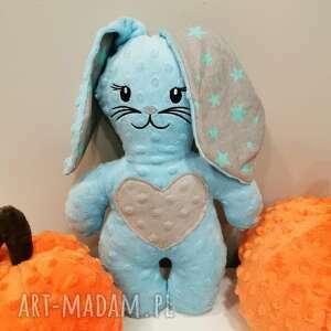 pokoik dziecka błękitny królik z uszami przytulanka minky prezent dla chłopca