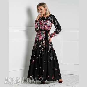 sukienka delia maxi asteria, maxi, kwiaty, wiosna, elegancka, długa, pasek