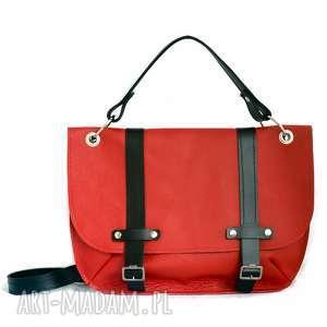 stylowa czerwono - czarna - torebka, listonoszka, stylowa, skórzana, lekka, oryginalna
