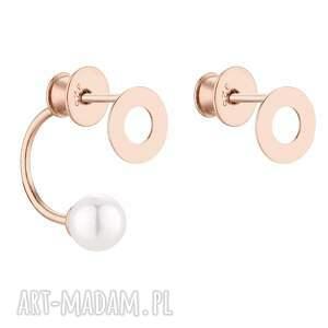 sotho asymetryczne kolczyki karmy z różowego złota z perłami