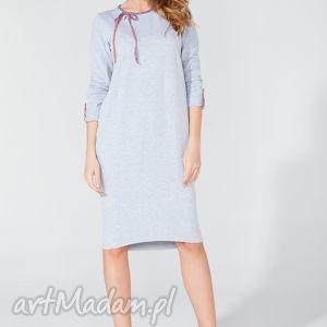 tessita sukienka midi z ozdobną lamówką i troczkiem t106 kolor jasnoszary