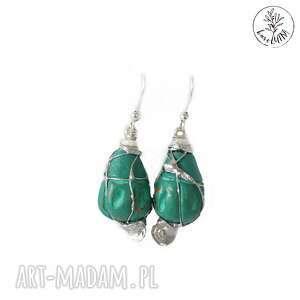 ręcznie zrobione kolczyki karolutka tworzy - kolczyki gliniany folk w morskim turkusie