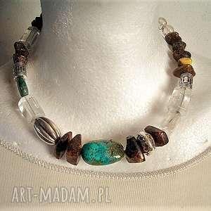 ręcznie wykonane naszyjniki elegancko: naszyjnik z prawdziwego turkusu, kryształu