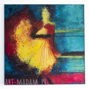 Spanish Girl, tancerka, decoupage, akryl, malowany, płótno, dekoracja