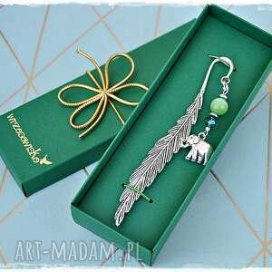zielony słoń - zakładka do książki, zakładka, słoń, na szczęście, prezent