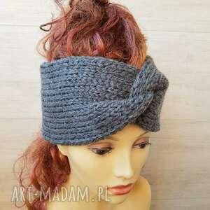 opaska turban podwójnie robiona, zimowa, na głowe