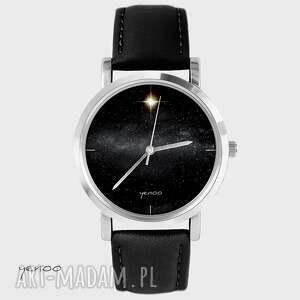 Prezent Zegarek - Star skórzany, czarny, zegarek, bransoletka, gwiazda