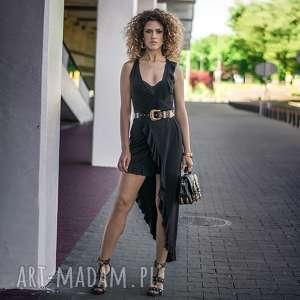 sukienki elena black night, asymetryczna, falbany, elastyczna