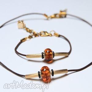 brązowo-złoty komplet - bransoletka i naszyjnik z rzemienia koralikami