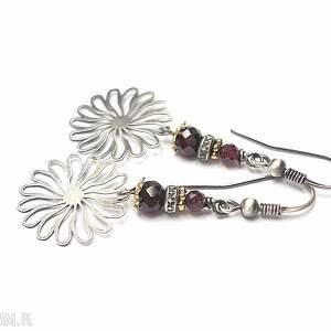 astry vol 5 - kolczyki, srebro, oksydowane, kwiaty, granat, ażur, rozeta