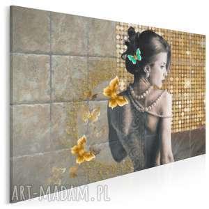 obraz na płótnie - kobieta złoto - 120x80 cm (31901)
