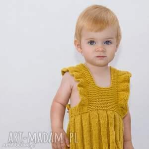 spódniczka-ogrodniczka musztarda merynos dziecięca, spódniczka, dziecko, dziewczynka