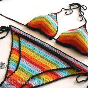 Tęczowe bikini bielizna mondu bikini, szydełkowe, plażę, opalacz