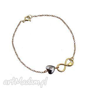 bransoletka nieskończoność serce srebro 925 pozłacane, bransoletka