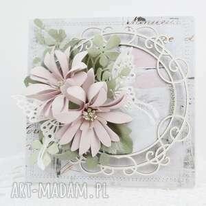 Pudrowy róż - w pudełku scrapbooking kartki marbella życzenia,
