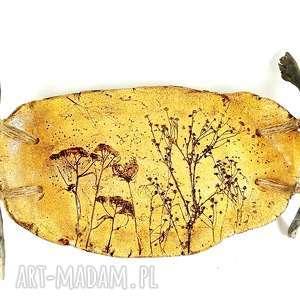 ręcznie zrobione ceramika patera ceramiczna z naturalnym drzewem