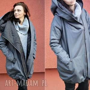 handmade szary płaszcz oversize ogromny kaptur na jesień rozmiar