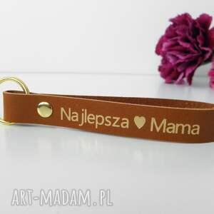 hand made breloki skórzany brelok breloczek do kluczy najlepsza mama - karmelowy brązowy