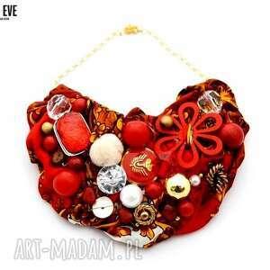 princess of china naszyjnik handmade - naszyjnik, czerwony, czerwień, złoty