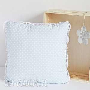 Poduszka dziecięca błękitna w groszki, poduszka-dziecięca, poduszka-jasiek