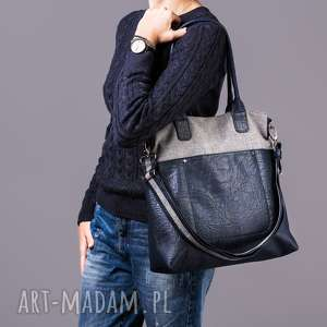 na ramię fiella - duża torba szara plecionka i granat, shopper, miejska, modna