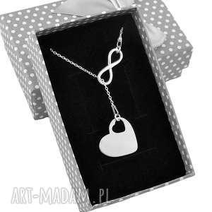 Srebrny naszyjnik krawat Y serce grawer pudełko