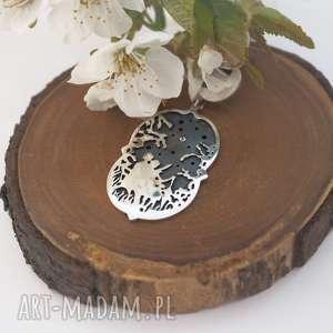 rozgwieżdżone niebo-romantyczny srebrny wisior - miłość