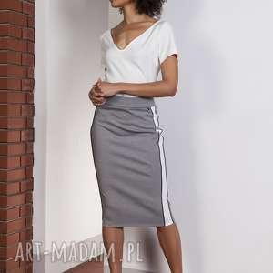 spódnice ołówkowa spódnica midi z lampasami, sp117 szary, spódnica