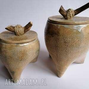 komplet pojemniczków spacer po lesie, ceramika rękodzieło, naczynia ręcznie