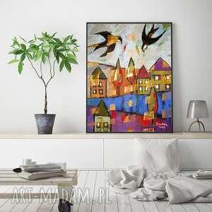 miasteczko - rysunek pastelami, rysunek, pejzaż, unikat, radzka, pastele, jaskółki