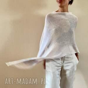 poncho elegancka bawełniana narzutka w delikatnej szarości i kremie, ponczo
