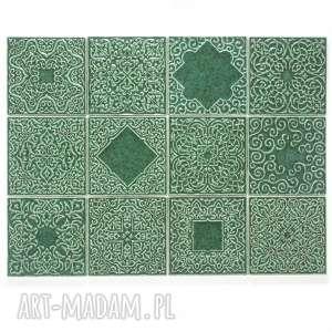 kafle zielono-turkusowe, dwanaście ornamentów, kafle, dekory, ornament
