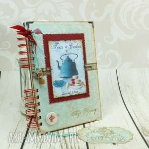hand made scrapbooking notesy przepiśnik - czajniczek w turkusach