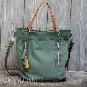 Torba zielona plus skóra żółta., torebka, alkantara, skóra, pojemna, praktyczna