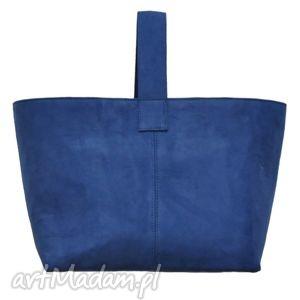 na zakupy 13-0004 niebieska torebka damska do ręki shopper bag toucan