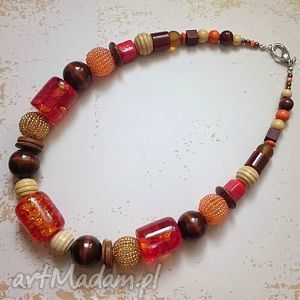 na jesień - korale, naszyjnik, jesień, złoto, drewno